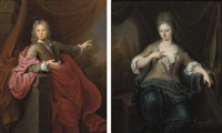 portrait of a gentleman, in a pink wrap (+ portrait of a lady in a blue wrap; pair) by gerard wigmana