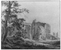 the ruins of castle brederode near haarlem by franciscus andreas milatz