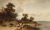 rinderherde am seeufer by conrad bühlmayer