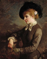 portrait of a lady by a sundial, wearing a hat with a rose in her hair by william thomas roden