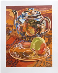 tea pot and apple by janet fish