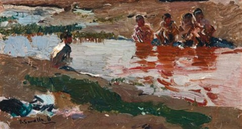 en el rio at the riverside by joaquin sorolla y bastida