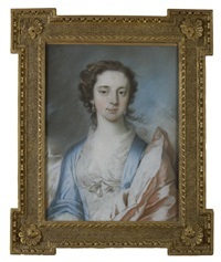 portrait of a young lady in blue gown and pink wrap by francis cotes