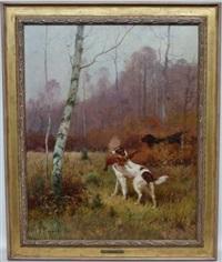 chiens de chasse en sous bois by j. renaud