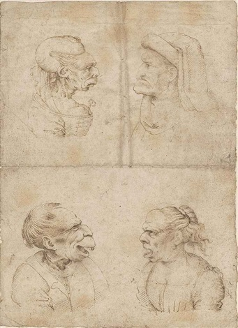 caricatures of an old woman wearing a carnation as a corsage an old man wearing a cap an old man with his mouth open and an old woman shouting by leonardo da vinci