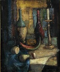 stilleben mit flaschen, kerze, früchten und tonpfeife by guy cambier