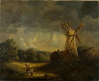 figures before a tower mill in a landscape under brooding skies by james smyth