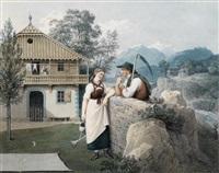 mädchen mit gießkanne und bauer mit sense vor einem giebelhaus by friedrich philip reinhold