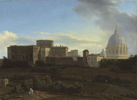 a view of the vatican rome with the sistine chapel and st peters basilica from the janiculum by isaac de moucheron