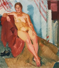 model on a red textile by nikolai andreevich tyrsa