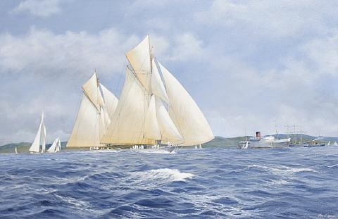 lulworth and candida racing on the clyde by john j holmes