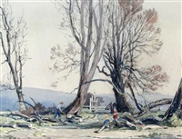 the wood cutter, crescent, b.c. by alfred crocker leighton