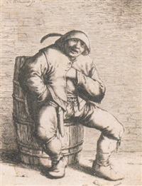 peasant sitting on a cask by willem basse