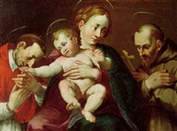 the madonna and child with saints filippo neri and francis by simone barabino