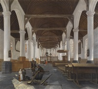 das innere einer barocken kirche (oude kerk in amsterdam?) by job adriaensz berckheyde