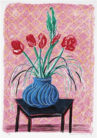 amaryllis in vase from moving focus by david hockney