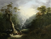 a wooded landscape with travellers resting before a waterfall by george barret