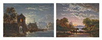 a riverside town under moonlight (+ fishing at dawn; 2 works) by jacobus theodorus abels