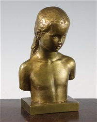 a small gilded bronze bust of a young girl by gunnar nilsson