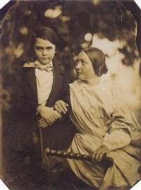 mère et son enfant dans un jardin by jean baptiste frénet