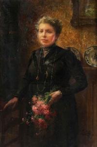 portrait d'une dame (mme van sul) au bouquet champêtre by frans mortelmans