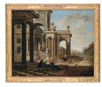 eine vornehme gesellschaft vor einem palast (+ eine elegante gesellschaft vor der loggia eines palastes; 2 works) by jan baptist van der straeten