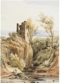 deux personnages discutant dans un paysage avec ruines et cours d'eau by charles caius renoux