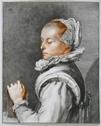 portrait der dichterin und kupferstecherin maria tesselschade (after h. goltzius) by cornelis (jacob c.) ploos van amstel