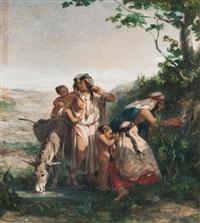 famille arabe à la fontaine by adolphe pierre leleux