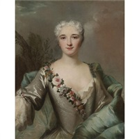 portrait of a lady, half length in a landscape, wearing a silver dress with a floral wreath by louis tocqué