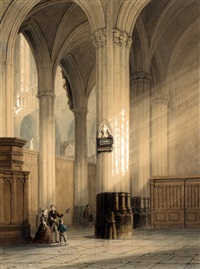 interieur nieuwe kerk te amsterdam met het grafmonument van joost van den vondel by jan baptiste tetar van elven