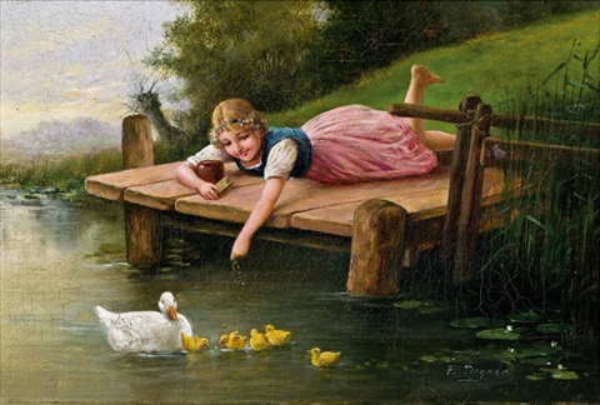 mädchen am teich beim entenfüttern by edmund adler