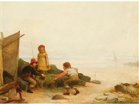children playing in rock pools at the shoreline by john burr
