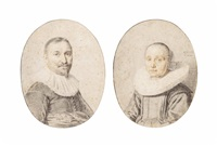 portraits of a man and a woman (pair) by jan de bray