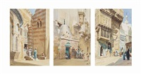 arabs leaving a mosque; arabic street scenes (3 works) by edwin lord weeks