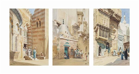 arabs leaving a mosque arabic street scenes 3 works by edwin lord weeks