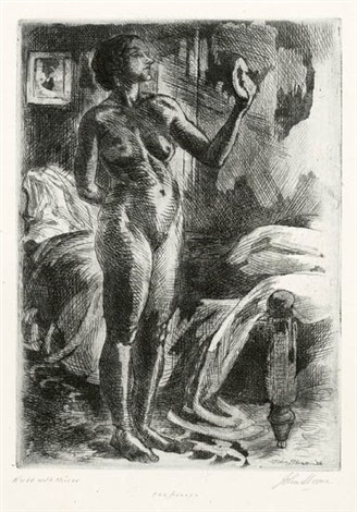 greetings * nude with mirror * enters * nude foreshortened (4 works, various dates, sizes and states) by john french sloan