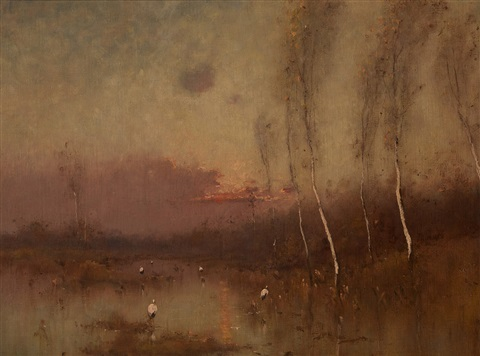 sunset at the marsh by nikolai nikanorovich dubovskoy