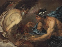 mercury presenting thunderbolts to jupiter by giovanni battista langetti