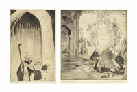 under the arch; sacred stairs (2 works) by abdur rahman chughtai