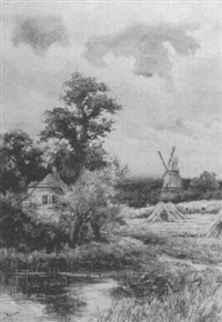 labourers harvesting corn and arranging the sheaves, with a windmill beyond by wiggs kinnaird