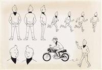 tintin illustration à l'encre de chine représentant 11 fois iintin by hergé