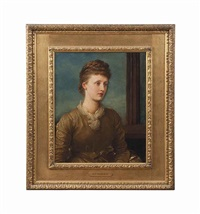 portrait of mrs andrew hichens (1853-1931), née mary emily may prinsep, later lady tennyson by george frederick watts