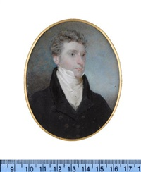 john smith of belvedere, wearing dark blue coat with black collar, cream waistcoat, chemise, stock, cravat and shirt pin by frederick cruickshank