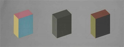 plate 01 from forms derived from a cube in color simple and superimposed black gray by sol lewitt