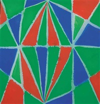 untitled - abstract in blue, green and red by marion mildred dale scott