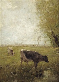 cows in a meadow by willem maris