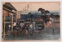 oban yoko-e, série de la grande tokaido, station 6, totsuka by ando hiroshige