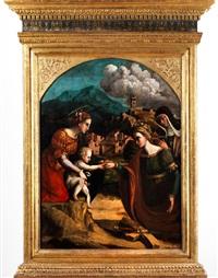 die mystische vermählung der heiligen katharina, im beisein einer nonne by michele di bernardo de fachai