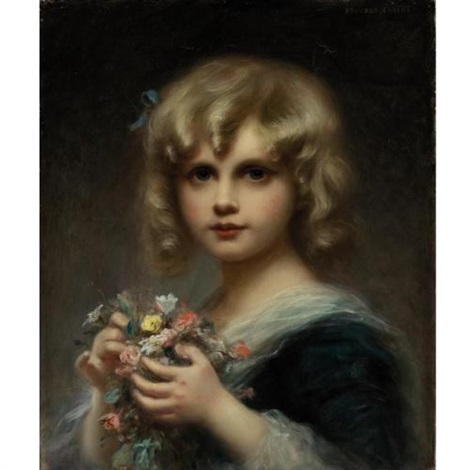 girl with flowers by edouard cabane